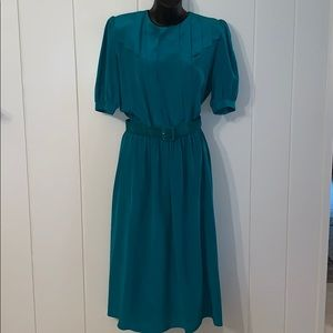 Vtg  80s/90s Jonathan Martin blue-green silk dress